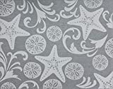 Gertmenian 22294 Outdoor Rug Freedom Collection Coastal Themed Smart Care Deck Patio Carpet, 9x13 Extra Large, Party Starfish Sand Dollar Gray Cream