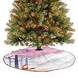 ThinkingPower Alfombra suave para árbol de Navidad con diseño de Sakura Idílico de Año Nuevo para decoraciones de día festivo y Año Nuevo, diámetro – 91,4 cm