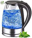 Wasserkocher Edelstahl Glas | 1,7 Liter | 2000W | Blaue...