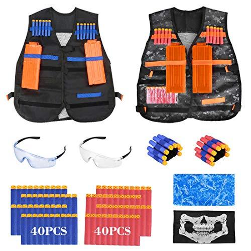 welltop Kids Tactical Vest Kit for Nerf Guns N-Strike Elite Series with 8-Dart Wrist Strap, Seamless Face Masks, Soft Foam Darts Refill Bullets Gifts for Boys Games