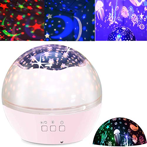 Star Projector Night Light for Kids Baby Projection Lamp 360 Degree Rotating Starry Sky Ocean Projection Night Light 8 Colors Changing Light for Children Kids Boys Girls Bedroom Party Birthday Pink