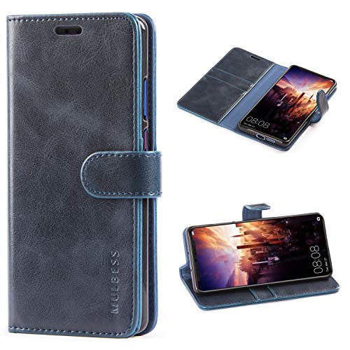 Mulbess Handyhülle für Huawei P30 Pro Hülle Leder, Huawei P30 Pro Handy Hülle, Vintage Flip Handytasche Schutzhülle für Huawei P30 Pro Hülle, Navy Blau