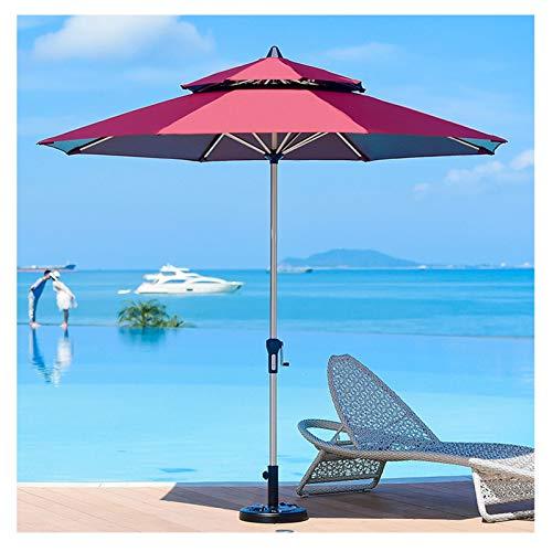 Parasols 9 Pieds Bassin Plage Parapluie 2 Niveaux Parapluie de Table de Marché Extérieur, avec Manivelle & 8 Côtes, sans Socle, Patio Jardin Cour Pelouse (Color : Red, Size : 2.7m/9ft)