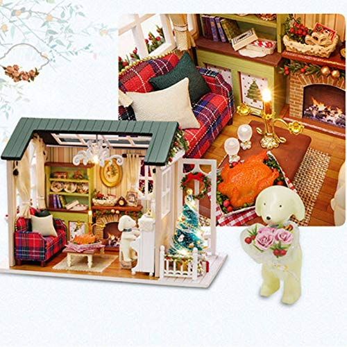 PN-Braes Juego de casa de muñecas de casa de muñecas en miniatura para regalo con luz hecha a mano