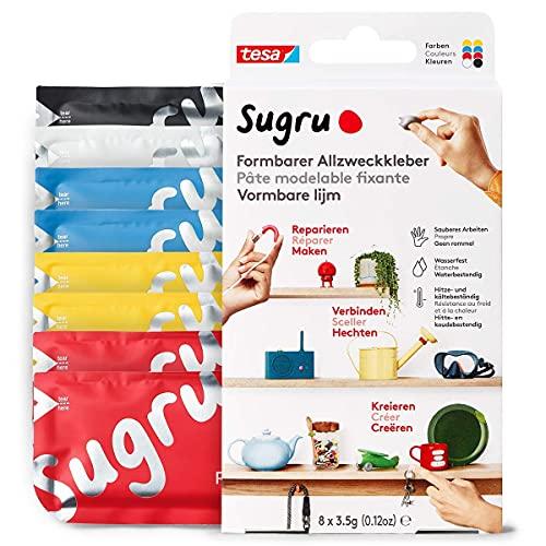 Sugru by tesa - Pegamento Multiusos Moldeable - Masilla Adhesiva Versátil - Para Reparar, Pegar y Fijar sin Necesidad de Taladrar - Paquete de 8 - 8 x 3.5 g - Rojo, Azul, Amarillo, Negro y Blanco