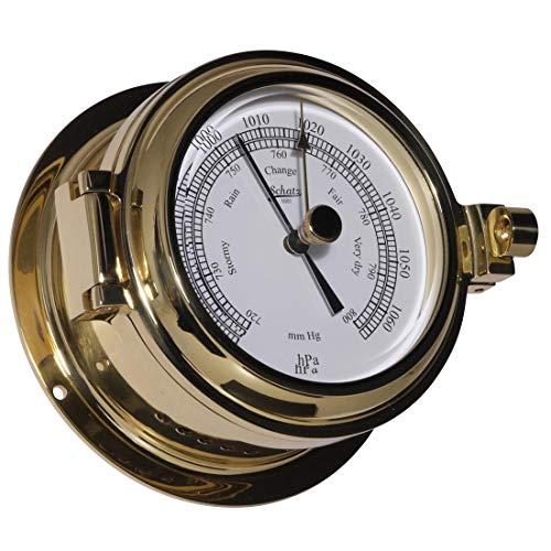 Trésor Baromètre Boîtier, série Success, forgé laiton poli, cadran blanc, 2 noires échelle HG et HPA, précision de + de 10hpa