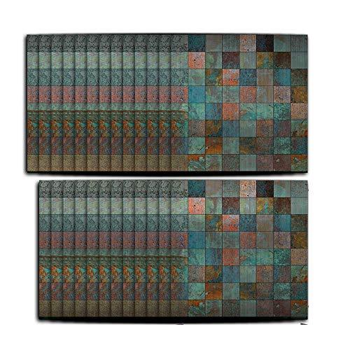 Hiseng 25 Piezas Mármol Adhesivos Decorativos Azulejos Pegatinas para Baldosas del Baño/Cocina Estilo Mosaico Negro - Clásico Resistente al Agua Pegatina de Pared (Verde Vintage,10x10cm)