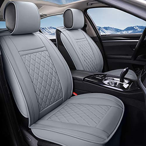 INCH EMPIRE 2 Front Car Seat Cover-Water Proof Synthetic Leather Cushion Universal Fit for Most of Sedan SUV Truck Hatchback Durable Use for All Season(2 Front Grey Grid)