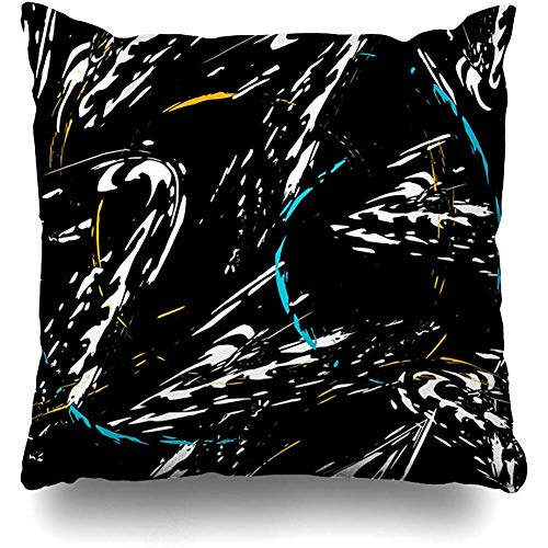 Hangdachang Orange Artistic Abstract On Black Boys Dark Dirty Drawing Girls Art Throw Pillow Covers Home Decorative Square Cushion Covers 18 X 18 Inch