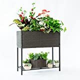 C-Hopetree 2 Tier Indoor Outdoor Raised Plant Stand - Hand Woven...