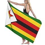 Tcerlcir Strandtuch Badetuch Saunatuch Duschtuch Ultra Leicht Handtuch Schnelltrocknend Saugfähiges Sporthandtuch Flagge von Simbabwe 130X80cm