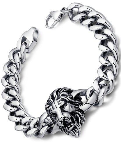 Arco Iris Jewelry Bracciale Uomo, Acciaio Inossidabile, Biker, Leone, 21.5cm - G6004qy