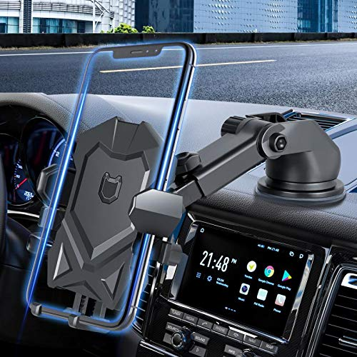 Manords Car Phone Mount Holder for Dashboard Windshield Compatible with All iPhone & Android Cell Phones, Black