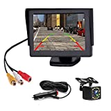 Backup Camera 4.3 Inch HD 720P Car Backup Camera for Cars,Trucks,Pickups,Suvs Easy Installation Waterproof Night Vision 12 LED Rear Backup Camera One Power System Reverse/Continuous Use Grid Lines