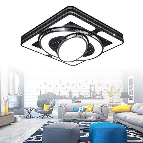 HENGMEI Deckenleuchte LED 54W Deckenlampe Wohnraumleuchte Acryl Küchenlampe für Wohnzimmer Schlafzimmer, schwarzer Rahmen (54W, Kaltweiß)