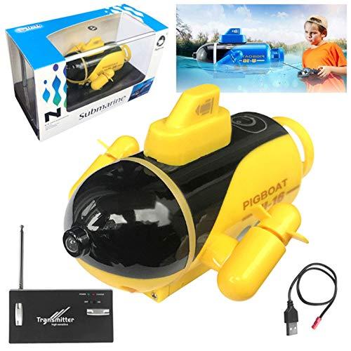 WGFGXQ Mini RC Submarino Control Remoto Baño Barco de Carreras Modelo Barco Mini Embarcación con 2 Luces LED, Buceo Electrónico Impermeable en Piscinas Lago Estanques Juguete de Regalo
