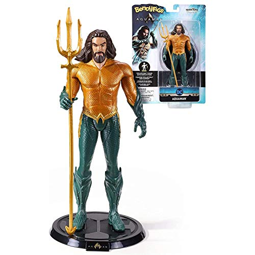 The Noble Collection DC Comics Bendyfigs Aquaman - 7.5in (19cm) Noble Toys DC Bendable Figure Posable Collectible Doll Figures With Stand