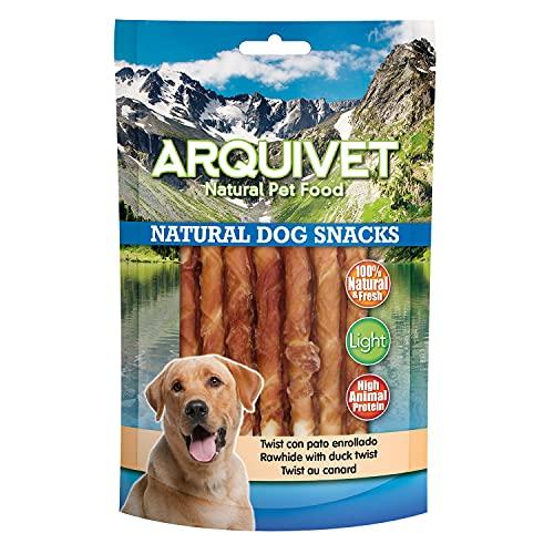 Arquivet Pack 12 Unidades Snack Twist con Pato Enrollado 13 cm 100 gr - Natural Dog Snacks - 100% Natural - Chuches, premios, golosinas para Perros - Producto Light - Muy Rico en nutrientes