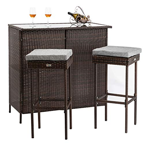 Bonnlo 3PCS Outdoor Wicker Bar Set with Stools and Glass Top Table for Lawn Pool Backyard Garden, Front Porch, Rattan Table and Stools Patio Bar Furniture with Comfortable Cushions