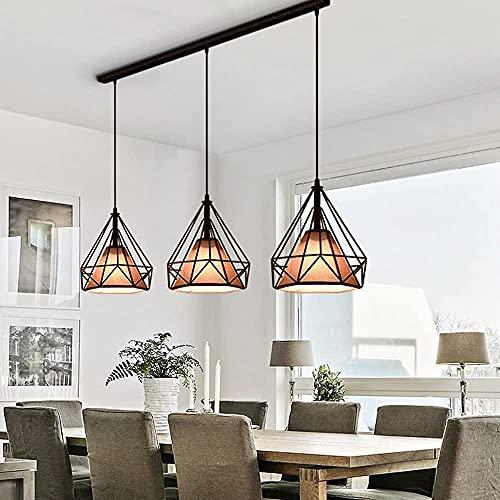 Mesa de comedor moderna colgante luz E27 diamante hierro jaula araña 3 cabezas con iluminación de zócalo lámpara colgante para decoración de habitaciones de restaurante sala de estar, lámpara de araña