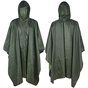 90 Points Multifunction Military Camouflage Rain Coat,Waterproof Ripstop Rain Poncho, PVC and Nylon,1 Pack (green)