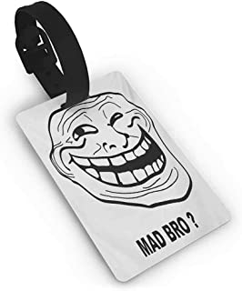 Name Labels Humor,Cartoon Style Troll Face Guy for Annoying Popular Artful Internet Meme Design,Black and White Suitcase Address Label