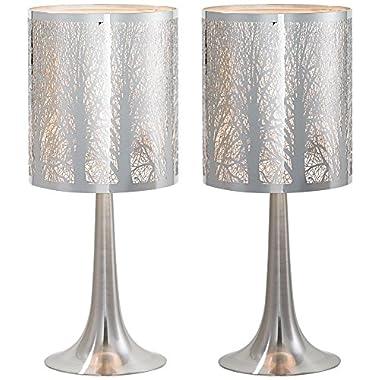 Possini Euro Design Laser-Cut Chrome Table Lamp Set of 2