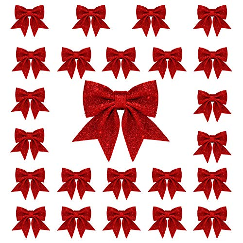 Whaline 24pcs Christmas Bow Decorations, Red Wreaths Bows, Small Christmas Tree Bow, 5.5in Sequin Bow Ties, Xmas Decorative Bows Ornaments for Home Christmas Party