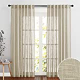 Semi Sheer Curtains for Sliding Glass Door Linen Texture Sheer Curtains, American Country Curtains Brighten Living Space Office Pool Hut Sitting Area, Taupe, 52 inch x 90 inch per Panel, 2 Pcs