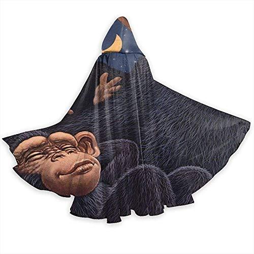 KDU Mode Heks Mantel, Grappige Orangoetan Met Cub Baby Zachte Comfortabele Hooded Wizard Kostuums Voor Festival Vakantie Feest, 40x150cm