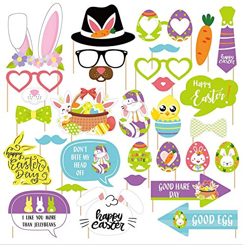 AIYANG 31 Pcs Ostern Photo Booth Requisiten Kinder Erwachsene Ostern Party Selfie Requisiten Osterhase Bunte Eier Blume Bunte Eier Frühlingsgras Babyparty Geburtstagsfeier Ostern Party Dekoration