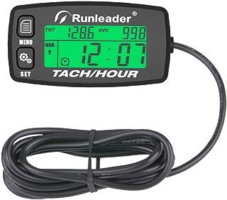 Inductive Tachometer Gauge Alert RPM Engine Hour Meter Boat Maintenance Reminder Backlit Digital Resettable Tacho Hour Meters for Motorcycle Marine Glider ATV Snow Blower Lawn Mower