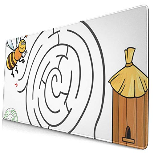 SZshenya Gaming Mouse Pad,Extended Mouse Pads with Non-Slip Rubber Base, Mousepad for Computers Cartoon of Education Maze Labyrinth Activity Game Children