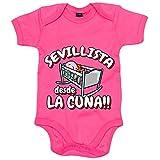 Body bebé Sevillista desde la cuna para aficionado al fútbol - Rosa, Talla única 12 meses