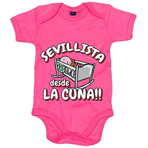 Body bebé Sevillista desde la cuna Sevilla fútbol - Rosa, 6-12 meses