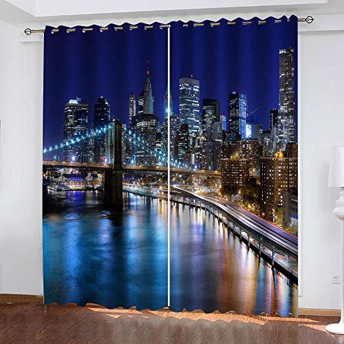 LWXBJX Cortinas Modernas Salon Opacas Dormitorio Modernos - Vista Nocturna del Puente de Nueva York - Impresión 3D Aislantes de Frío y Calor 90% Opacas Cortinas - 300 x 270 cm - Salon Cocina Habitaci