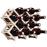 【morningplace】 サイズが選べる 折りたたみ式 ワインラック 木製 ホルダー ワイン シャンパン ボトル スタンド 収納 ケース インテリア に (10本収納 ウッドカラー)
