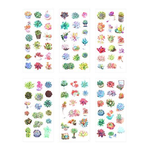 Lumanuby 6 Blätter Sukkulenten Pflanzen Fotogalerie Aufkleber Washi Papier Sticker von Sukkulenten verschiedener Art DIY Deko für Tagebuch Notebook Kalender Scrapbooking, Aufkleber Serie Size 8x16cm