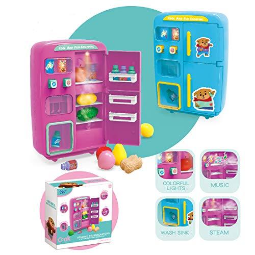 12che Frigorifero Giocattolo, 32 Pezzi Simulazione Mini Frigorifero Giocattolo con distributore Automatico di Giocattoli per Bambini