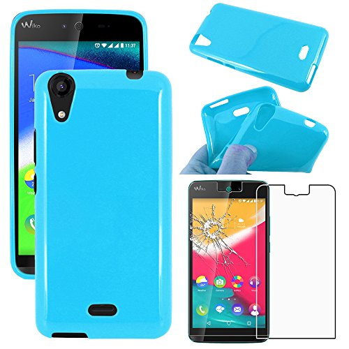 ebestStar - kompatibel mit Wiko Rainbow Jam 4G Hülle TPU S-line Style Silikongel Handyhülle, Schutzhülle Hülle Cover, Blau + Panzerglas Schutzfolie [Phone: 143.1 x 71.4 x 8.7mm, 5.0'']