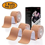 Udaily Kinesiology Tape Precut (3 Rolls Pack), Elastic Therapeutic...