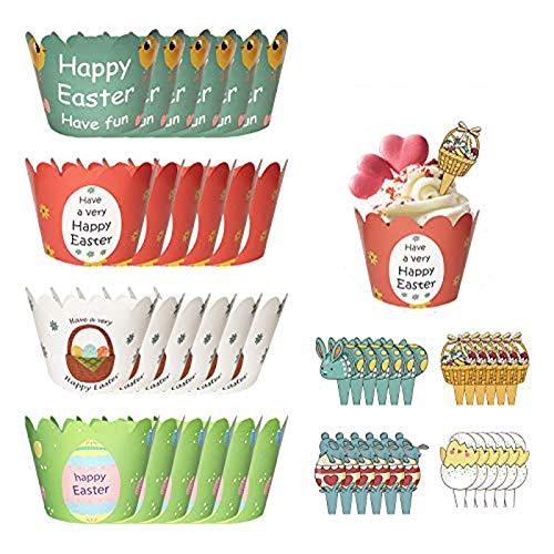 48 Stück Cupcake Toppers, Cartoon Easter Cupcake Wrapper Papier Bunny Muffin Backen Verpackung Beidseitig Handmade Kuchen Dekorieren für Kinder Party Kuchen Dekorationen Geburtstag Deko