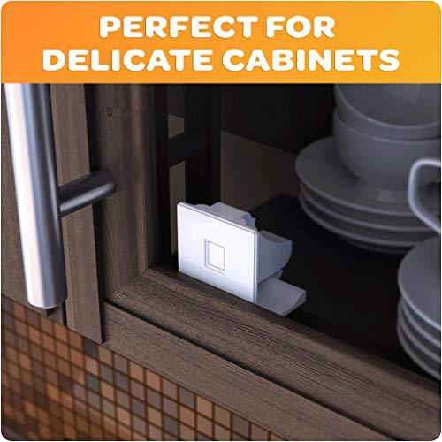 Jambini Magnetic Cabinet Locks - Baby Cabinet Safety Latches - Baby Proofing Cabinet Locks (4 Locks + 1 Key)
