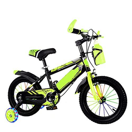 Bicicleta Para Niños Para Niños Y Niñas Bicicleta De Estilo Libre Para Niños De 2 a 12 Años 12 14 16 18 20Pulgadas Con Ruedas De Entrenamiento Con Portabidón Con Soporte Para Niños,Amarillo,16inches