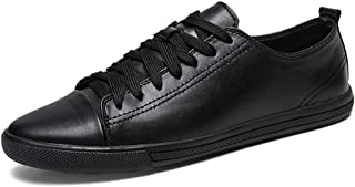 XUJW-Shoes, for Men Outdoor Hiking Fashion Sneakers Mens Walking Shoes Lace Up Style Microfiber Leather Lightweight Solid Color Weave Experienced Stitched Cap Toe (Color : Black, Size : 7 UK)