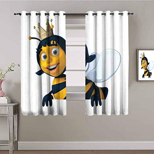 Queen Bee Bedroom Decor Blackout Shades Digitally Constructed 3D Queen Bee Crown Mother of Colony Bathroom Curtain Baby Blue Earth Yellow Navy Blue W84 x L84 Inch
