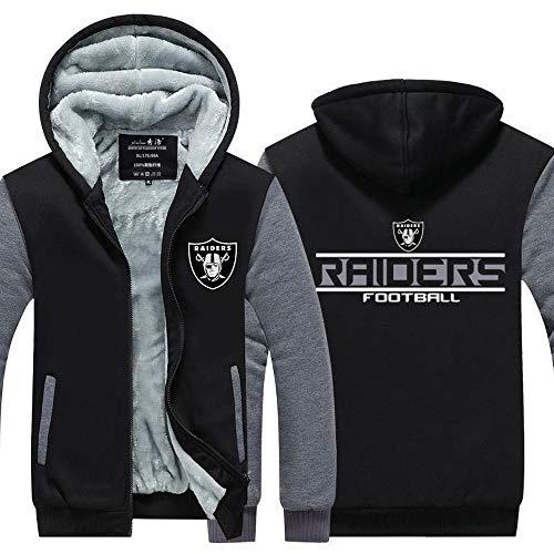 Männer Kapuzen Langarm NFL Oakland Raiders Football Sport Warm Stitching Langarm Zipjacke Rugby Black-XL