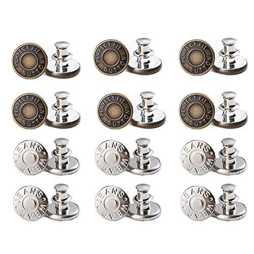 guangfan 17 mm di Ricambio Jean Pulsanti, Perfetto Fit Instant Pulsante,Bottoni Bottoni Jeans Staccabili, Bottoni Jeans di Ricambio(12pc)