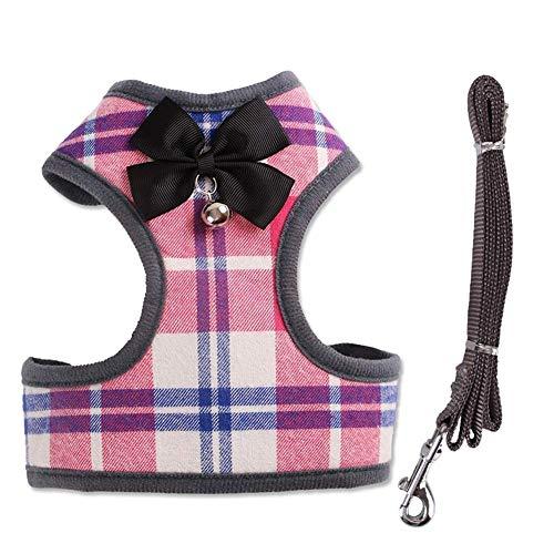 GWFVA Dog Harness Pet Vest Hundeleine - Kariertes Welpengeschirr Kitty Führstrick-Set für kleine Hunde Big Cats - mit niedlichem Hundeleinen-Set mit Fliege