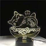 sanzangtang Luz de Noche LED 3D-Vision-Seven Colors-Remote Control-Night Light Lucky Cat Ilustración Decoración del hogar Luces Niños Niños Dormitorio Luz de Noche Bebé